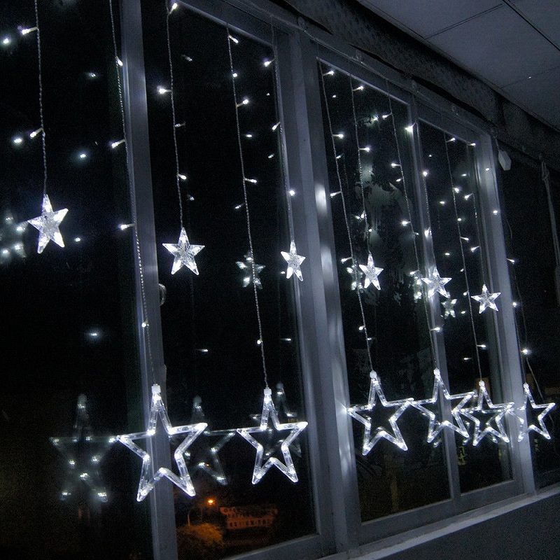 Decorate the windows with Christmas lights